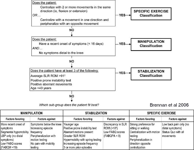 Treatment Based Classification Approach to Low Back Pain ...
