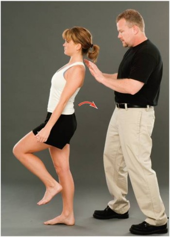 Demonstration of one leg hyperextension manoeuvre