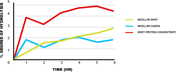 Degree of Hydrolysis vs. Time in Different Protein Types