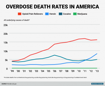 This chart shows how death rates from opioid usage in America have increased over time.