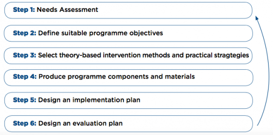 Steps to Theory Development and Evidence Based Health Promotion Programmes (Collard et al 2009)